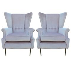 Luxe Pair of Brass Legged Italian Wingback Chairs
