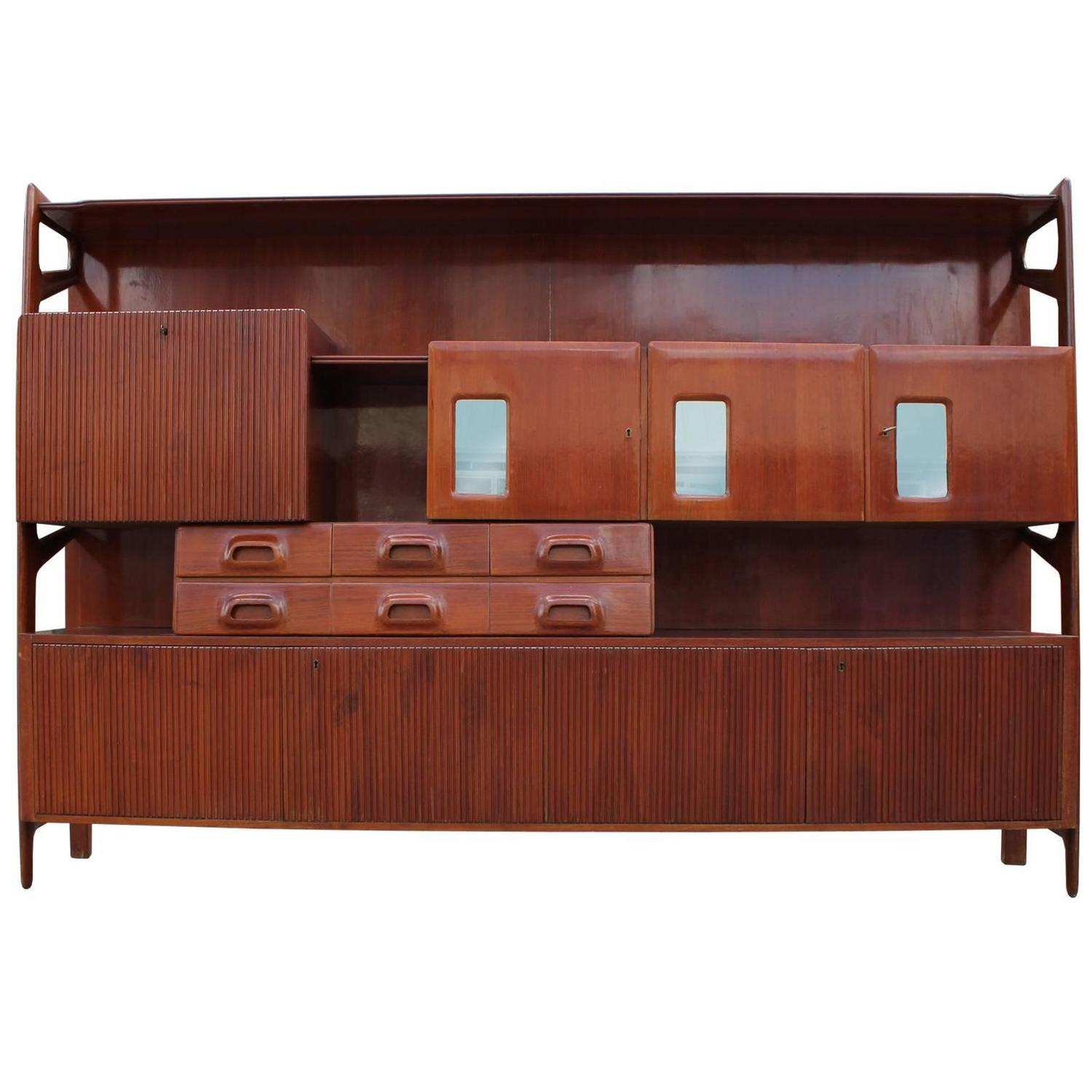 monumental and incredible italian sculptural wall unit or