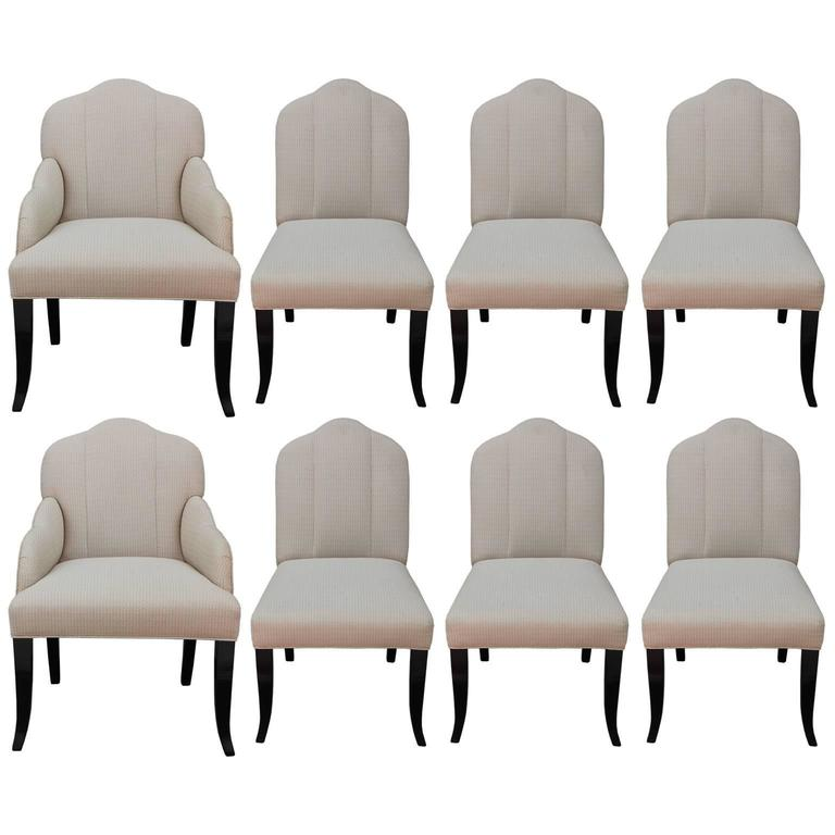Glamorous Set Of Eight Upholstered Dining Chairs At 1stdibs