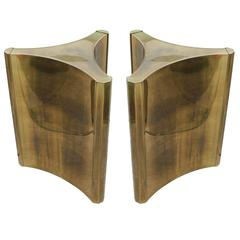 Luxe Pair of Brass Mastercraft Pedestal Table Bases