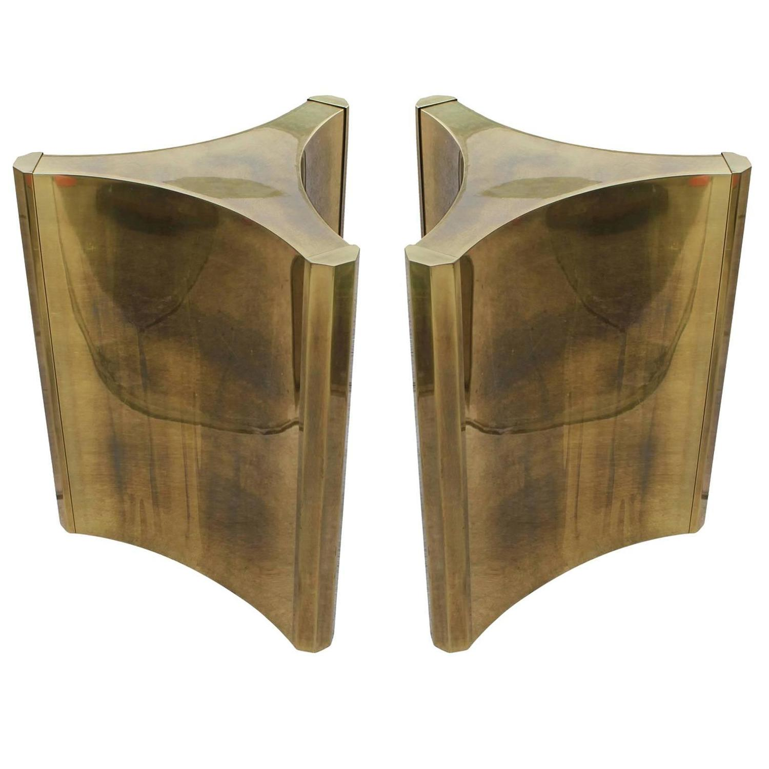 Luxe Pair Of Brass Mastercraft Pedestal Table Bases At 1stdibs