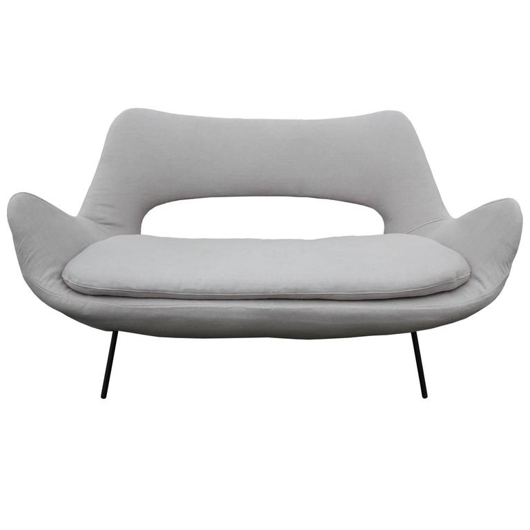 sculptural italian modern loveseat in light grey linen with black metal legs 2 - Black Leather Loveseat