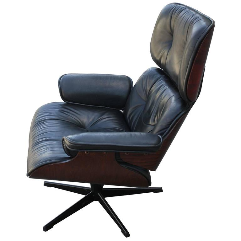 Mid Century Modern Iconic Eames Style Lounge Chair And Ottoman For