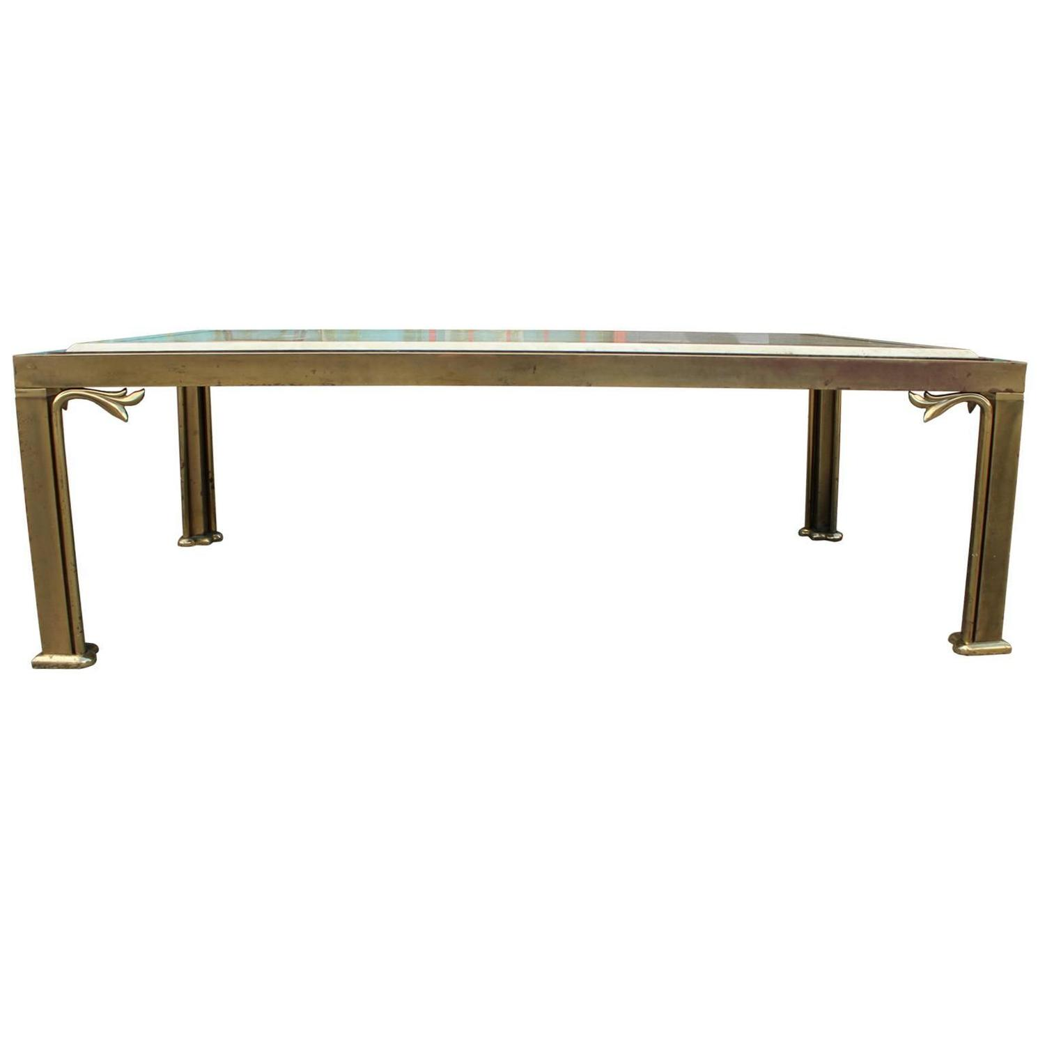 Marble Coffee Table Houston: Glamorous Travertine And Brass Coffee Table For Sale At