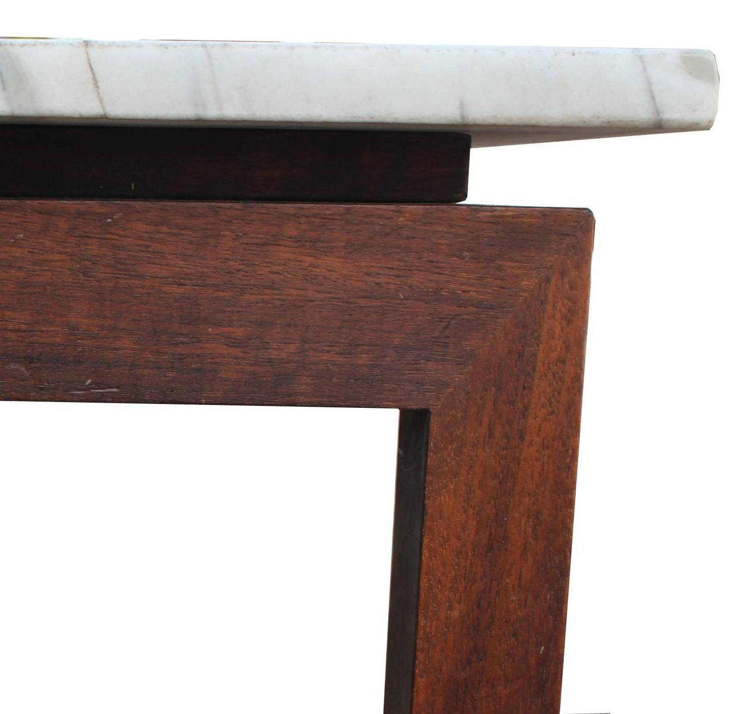 Marble Coffee Table Houston: Clean Lined Walnut And Marble Coffee Table For Sale At 1stdibs