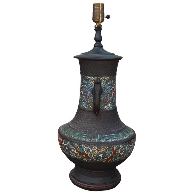 Striking Chinese Champlevé Cloisonné Table Lamp. Urn Shaped Bronze Table  Lamp Is Enameled With A