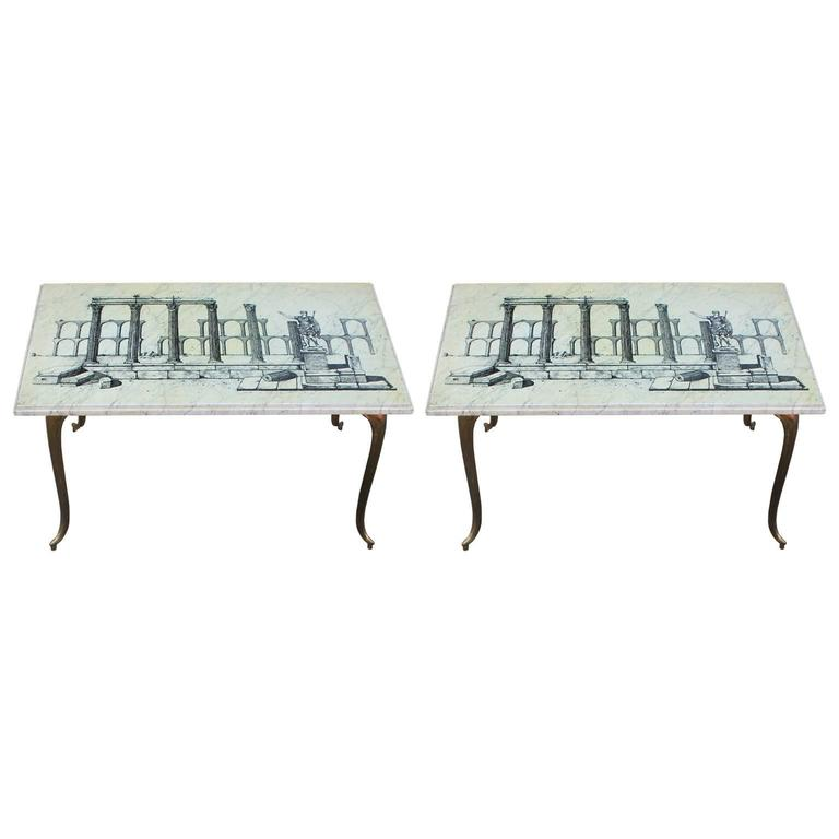 Pair of Italian Marble and Brass Modern Side Tables with Aqueduct Motif