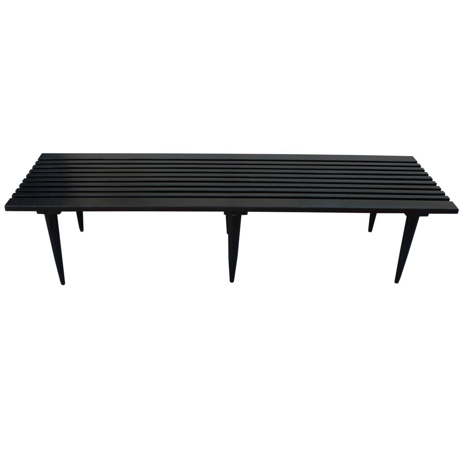 Sleek Black Slatted Coffee Table Or Bench For Sale At 1stdibs