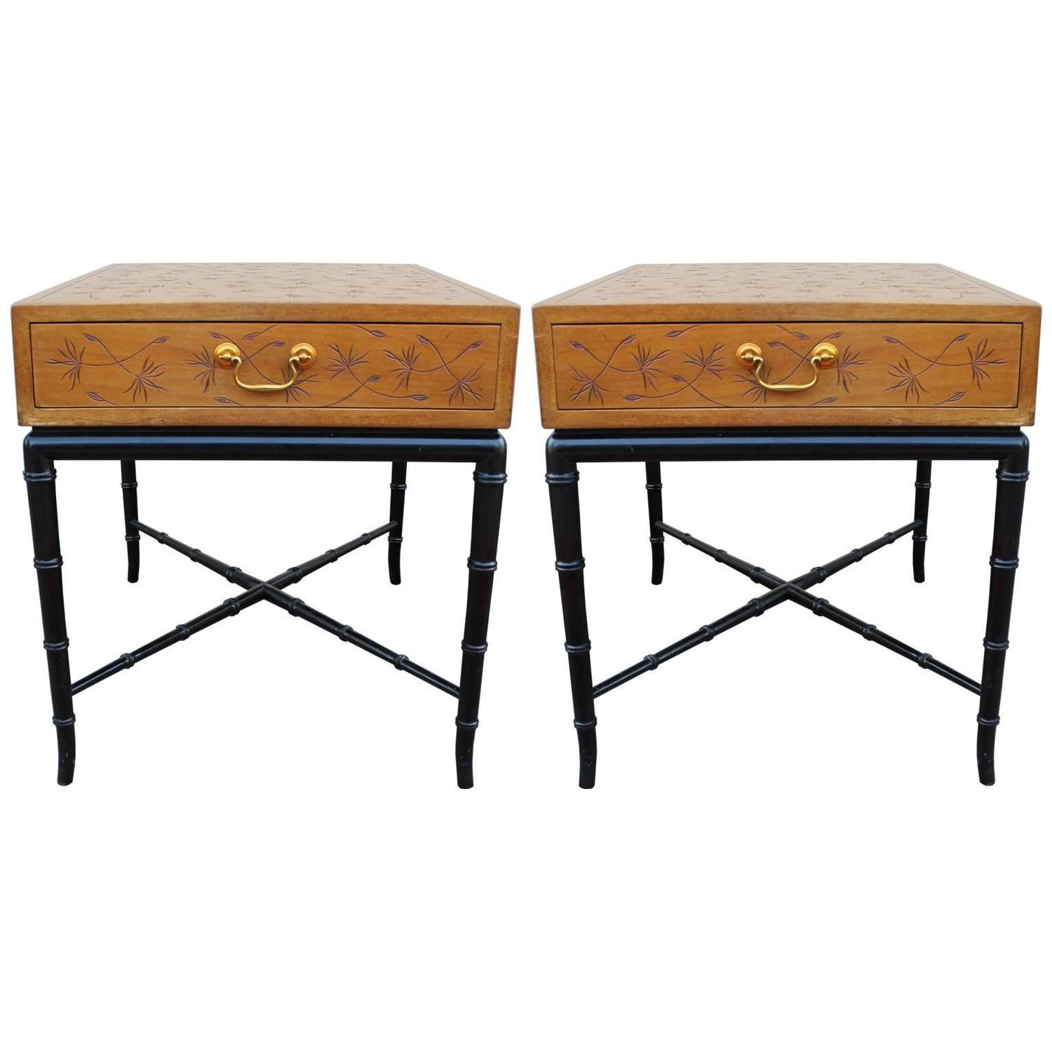 Pair of Incised Kittinger Modern Side Tables Nightstands with