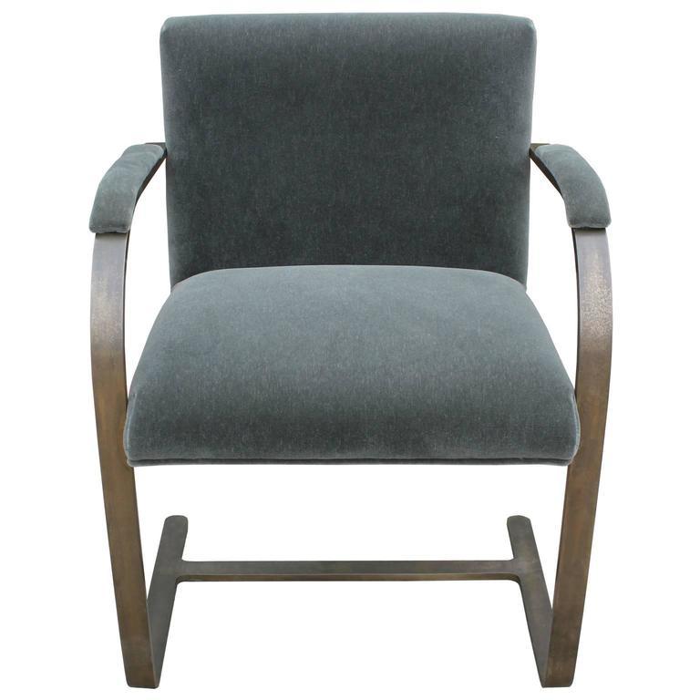 Rare Bronze Flat Bar Brno Chair by Mies van der Rohe at