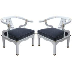 Pair of Modern White Lacquer and Gray Velvet Barrel Back Asian Lounge Chairs