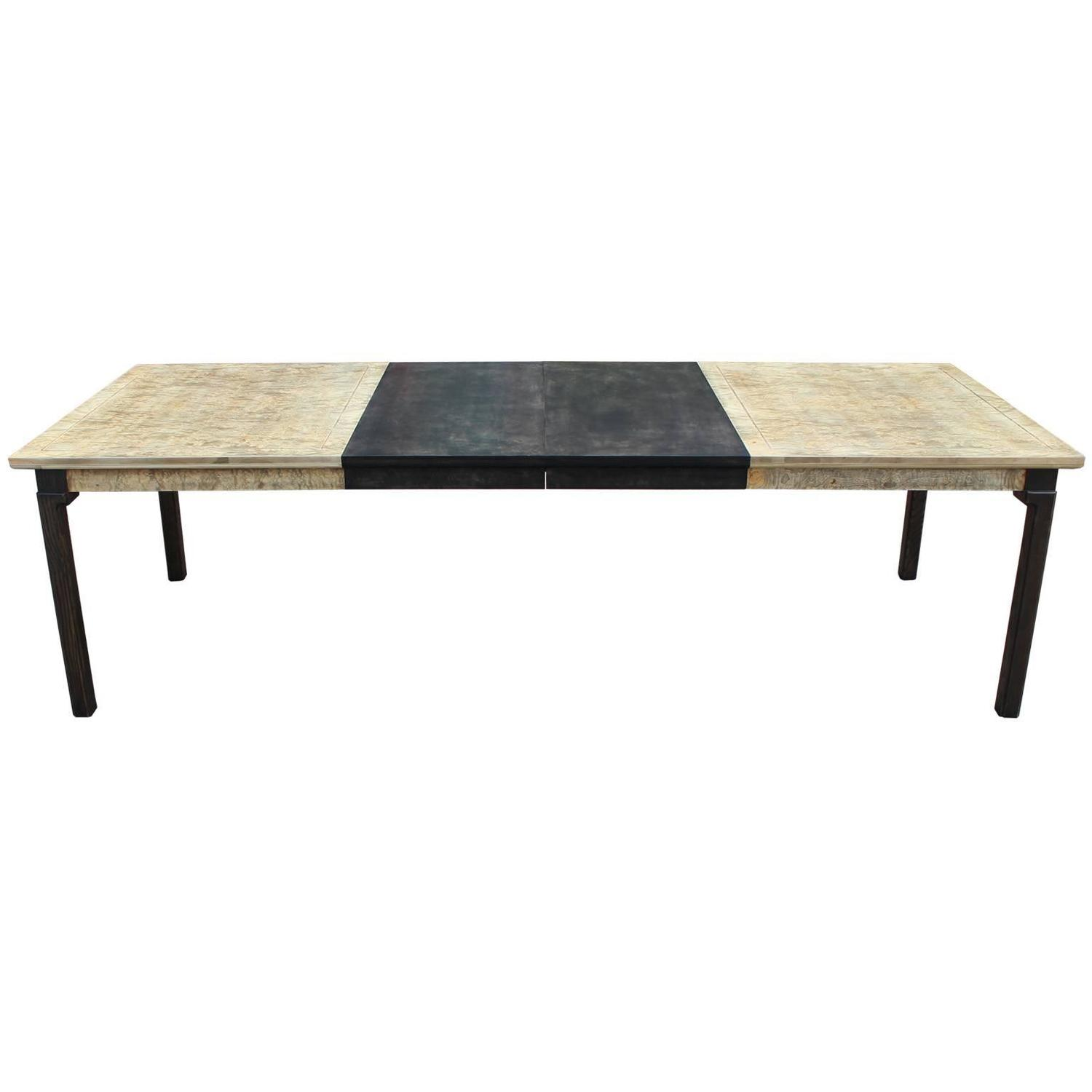 Monumental luxe two tone burl wood dining table for sale for 2 tone dining room tables