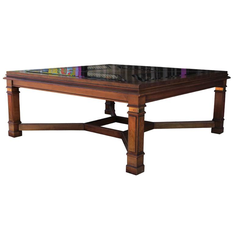 Burl Coffee Table Legs: Modern Burl Brass And Smoked Glass Square Coffee Table For