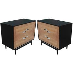 Splendid Pair of Two Tone Matching Modern Chests