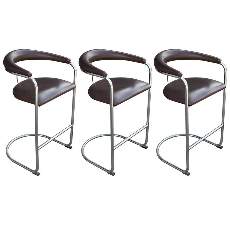 Set of Three Chrome Thonet Modern Bar Stools Dark Brown Leather 1  sc 1 st  1stDibs & Set of Three Chrome Thonet Modern Bar Stools Dark Brown Leather at ... islam-shia.org