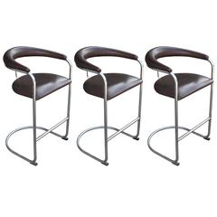 Set of Three Chrome Thonet Bar Stools Leather