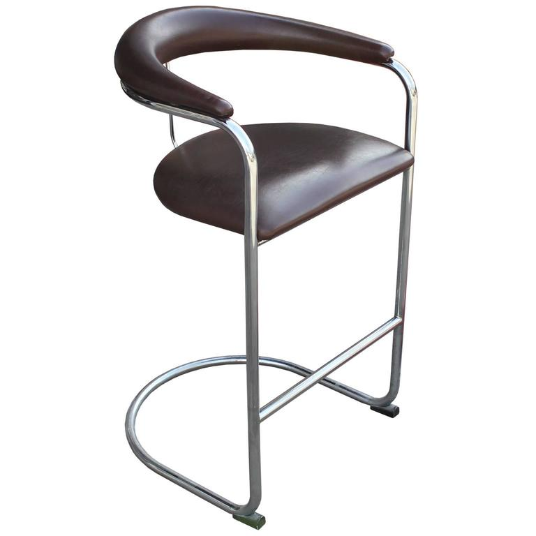 MidCentury Modern Set Of Three Chrome Thonet Bar Stools Dark Brown  Leather For Thonet Bar Stool S96