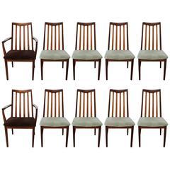 Set of Ten Teak Danish Style Modern Dining Chairs