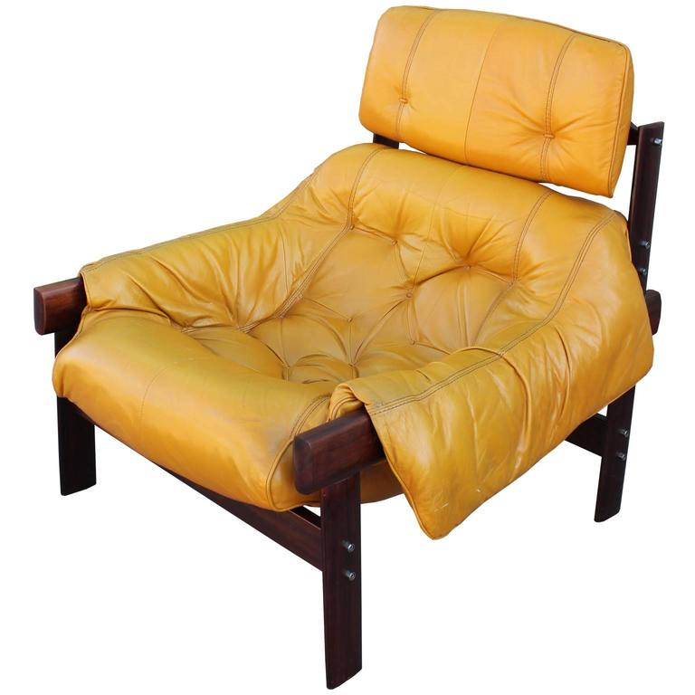 Percival Lafer Brazilian Mustard Yellow Lounge Chair With