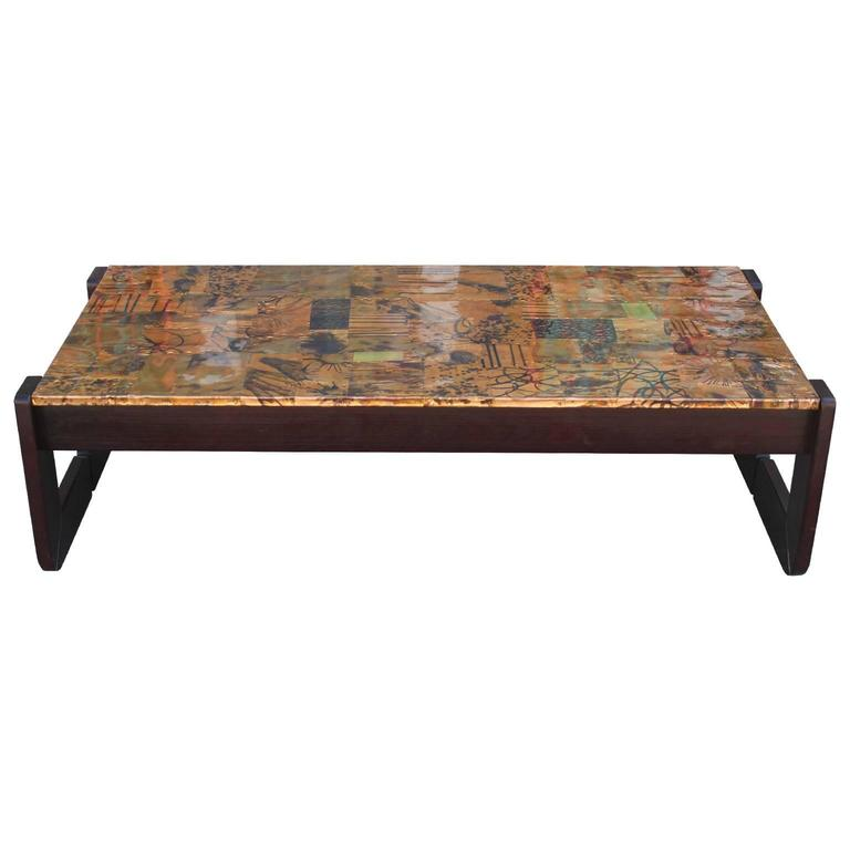 Brutalist Percival Lafer Modern Copper Patchwork Coffee Table At 1stdibs