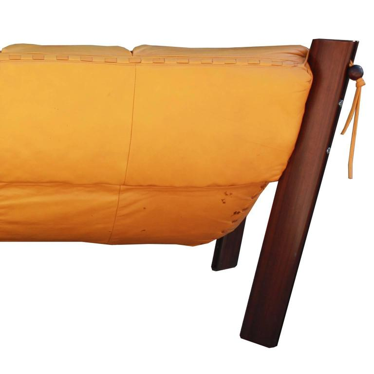 Percival Lafer Rosewood And Distressed Tufted Yellow: Yellow Leather Brazilian Percival Lafer Two-Seat Sofa Or