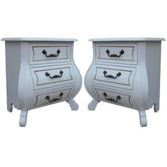 White Pair of Modern Bombay Chest/Nightstands with Brass Hardware