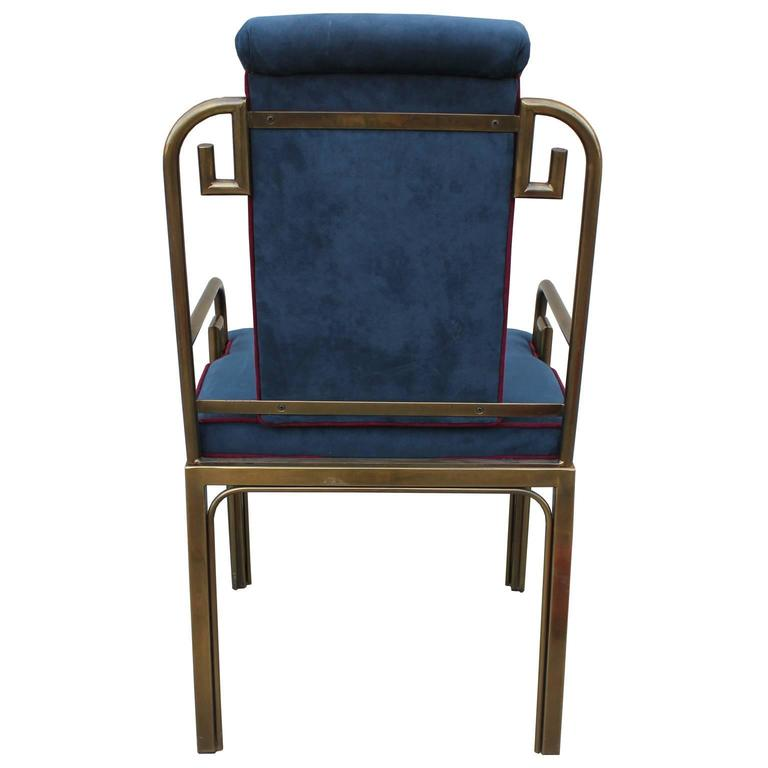 Set of Twelve Modern Mastercraft Brass Greek Key Dining Chairs In Excellent Condition For Sale In Houston, TX