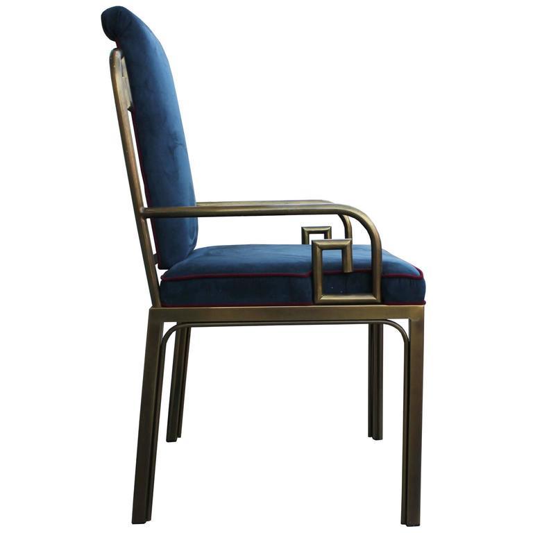 American  Set of Twelve Modern Mastercraft Brass Greek Key Dining Chairs For Sale