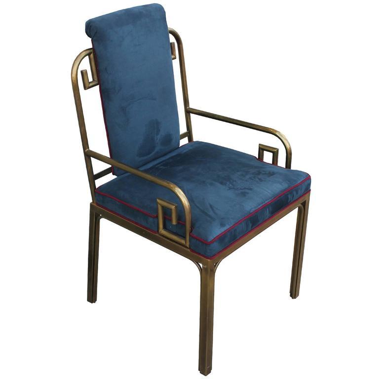 Hollywood Regency  Set of Twelve Modern Mastercraft Brass Greek Key Dining Chairs For Sale