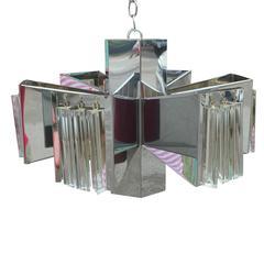 Modern Chrome Lucite Italian Pendant Light or Chandelier