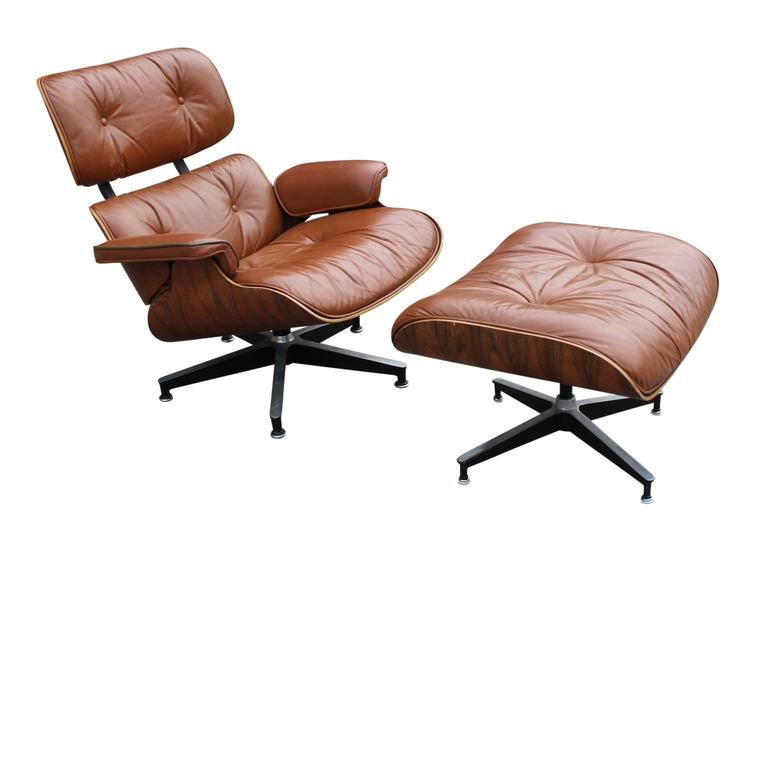 modern eames rosewood light brown leather lounge chair at. Black Bedroom Furniture Sets. Home Design Ideas