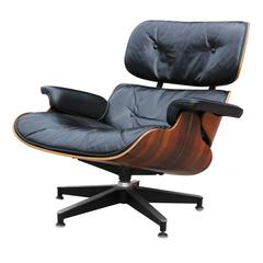 Rosewood Eames Lounge Chair Black Leather