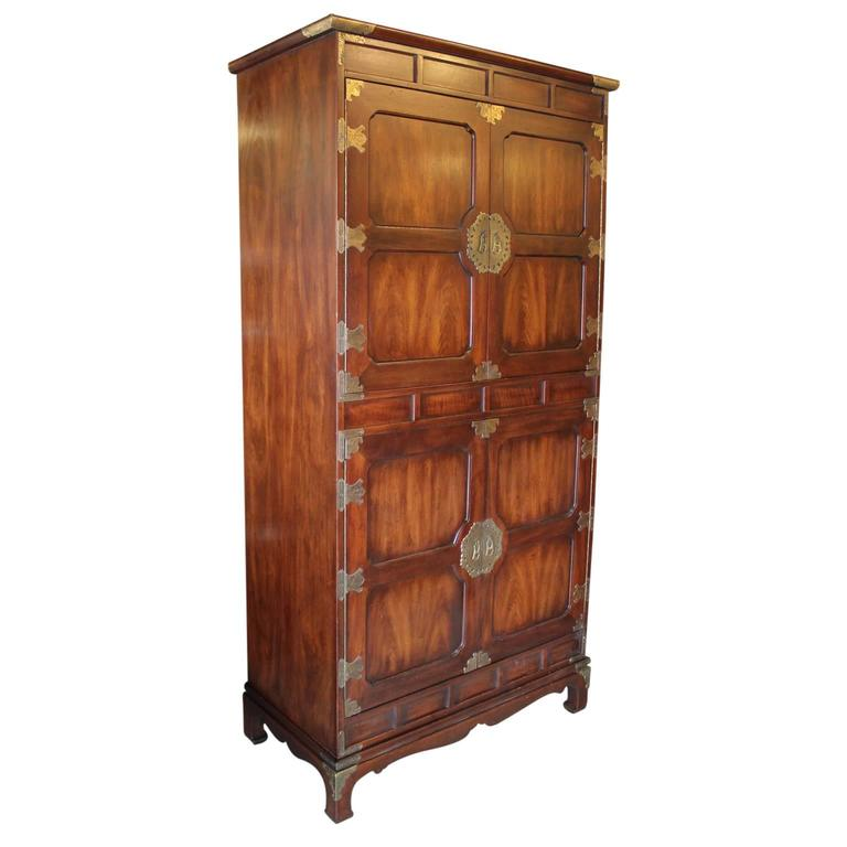 Couches For Sale Houston: Large Modern Henredon Walnut Cabinet Wardrobe With Brass