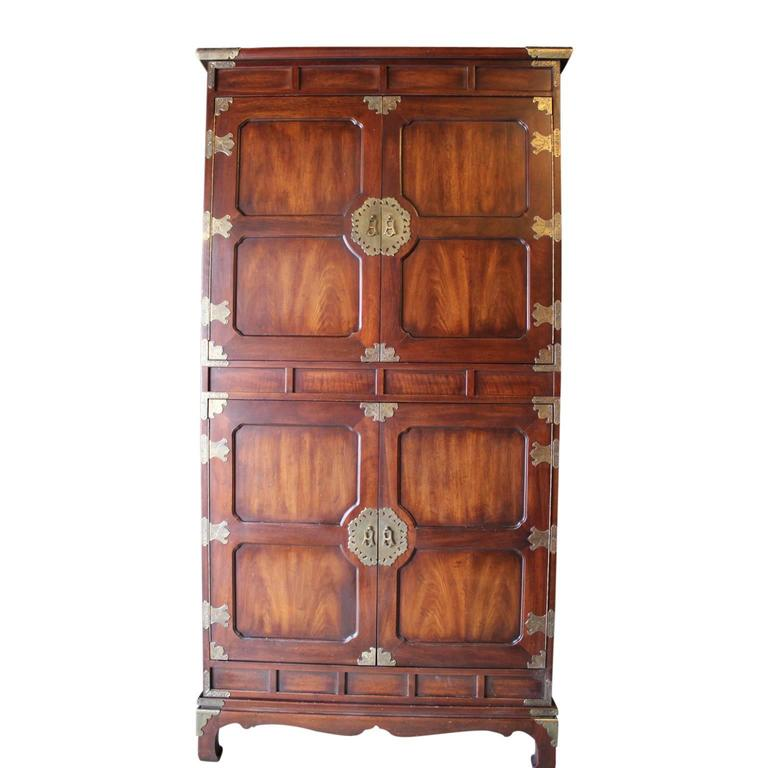 Henredon Cabinet / Wardrobe With Brass Asian Detailing. The Bottom Cabinet  Opens To 4 Large