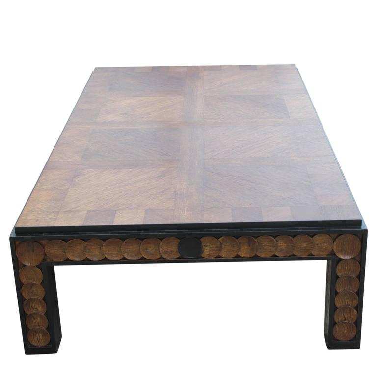 Large Coffee Table Contemporary: Large Modern Rectanglular Walnut Henredon Coffee Table At