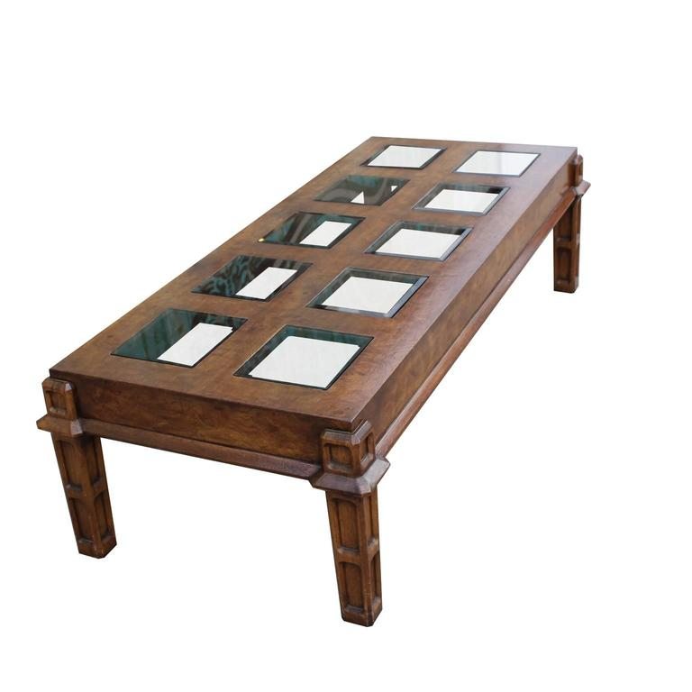Modern Burl Coffee Table With Square Glass Inserts For