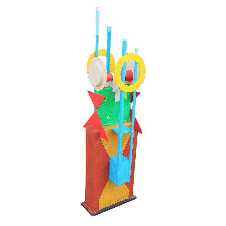 Late 20th Century Memphis Style Large Abstract Sculpture Fluhme For Sale