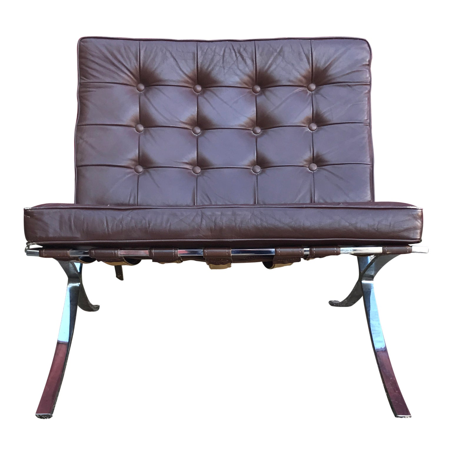 Modern Brown Leather Barcelona Style Lounge Chair With Chrome Base