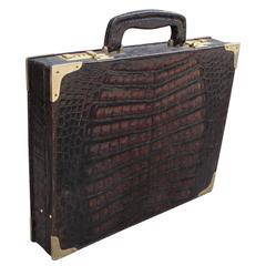Vintage Dark Brown Crocodile Amiet Briefcase with Brass Hardware and Lock Code