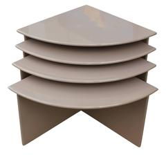 Set of Four Nude Modern Lacquer Nesting / Stacking Tables