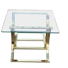 Square Brass Side Table with Glass Top