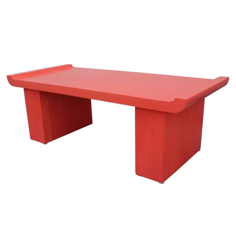 Paul Frankl Modern Coffee Table / Bench in Orange Lacquer with Asian Inspiration
