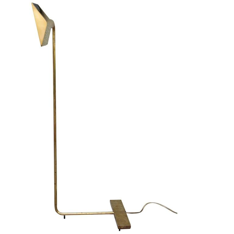 Mid-Century Modern Signed Cedric Hartman Modern Brass Swivel Reading Lamp For Sale