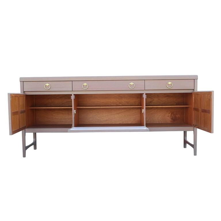 Modern Hollywood Regency Grey Wash / Blush Sideboard with Brass Ring Handles 4