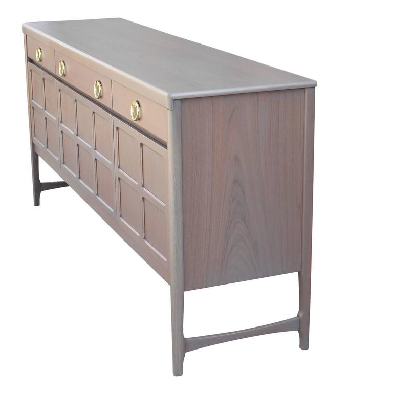Modern Hollywood Regency Grey Wash / Blush Sideboard with Brass Ring Handles 5