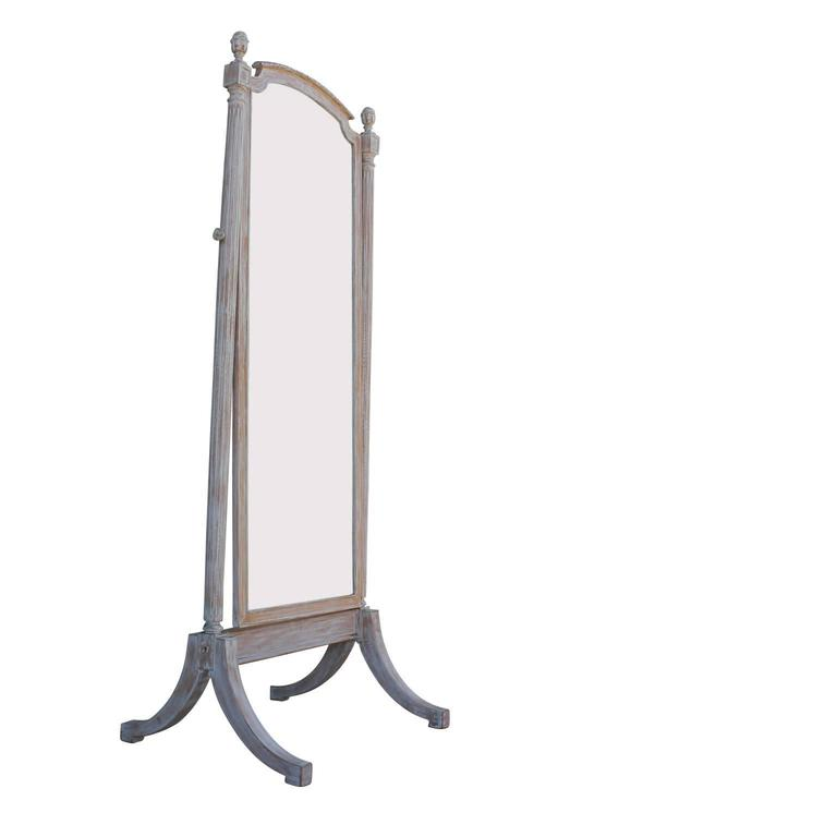 Free standing french mirror with blonde bleached wood for Standing mirror frame