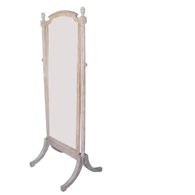 Free standing french mirror with blonde bleached wood for Floor length mirror for sale