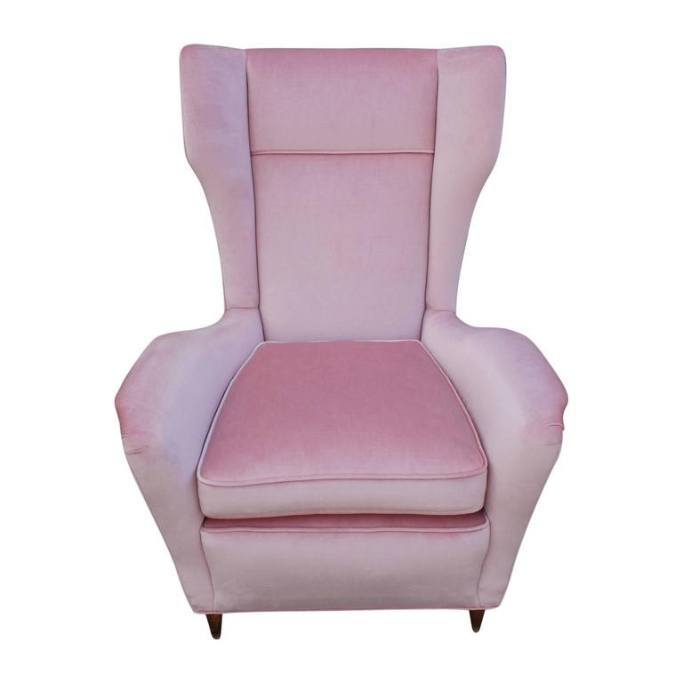 Pair Of Italian Modern Wingback Chairs In Light Pink