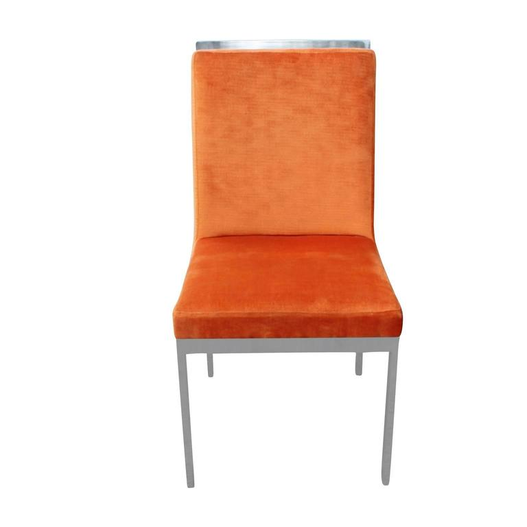 Set Of Eight Modern Chrome Orange Velvet Dia Dining Chairs