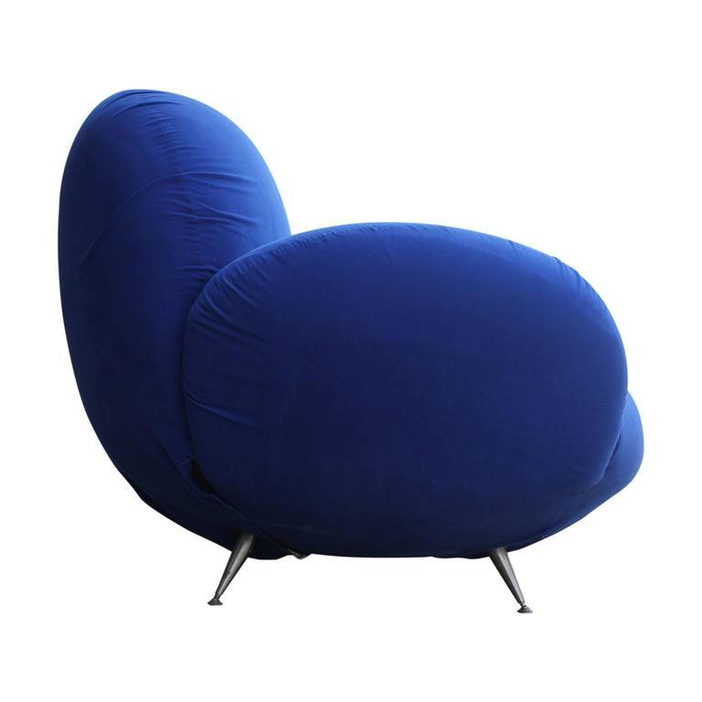 Bold Sculptural Modern Blue Italian Lounge Chair At 1stdibs